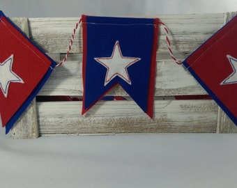 7ft 4th of July Felt Banner, Red White and Blue Garland, Memorial Day