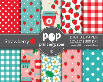 Strawberry digital paper, summer digital paper, girls birthday decor, strawberry design invites, red teal pink digital paper, strawberry jam