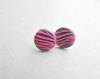 Hot Pink Zebra Stud Earrings