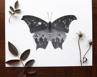 Starry sky butterfly - 8x10 print