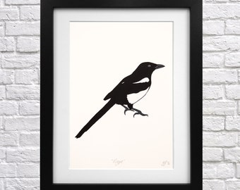 Magpie Screen Print - modern print - bird print - animal print - bird wall art - magpie picture - bird picture - magpie wall art