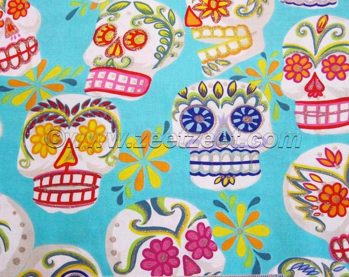 CALAVERAS SKULLS Turquoise Aqua Alexander Henry Big Sugar Skulls Cotton Quilt Fabric - by the Yard Day of the Dead