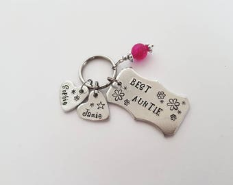 Best Auntie Keyring, Granny, Mum, Personalise to suit. Mothers Day Gift, gift with kids names, Birthday Gift,