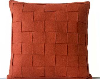 Orange Pillows, Felt Weave Pillows, Decorative Pillows, Wool Mat Pillow, Autumn Decor Pillow, blush decorative pillows, Mother's day gifts.