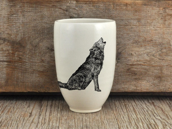 Handmade Porcelain beer tumbler with wolf drawing Canadian Wildlife collection