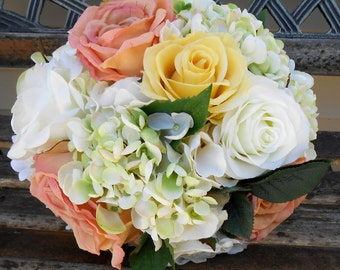 Pastel Silk Bouquet Peach White Yellow OOAK