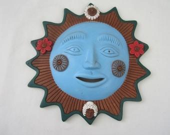 Vintage Terra cotta Blue Sun Face Wall Hanging Terracotta Southwest Mexico Decor