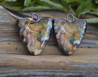 Fairy with Peacock-Handmade Porcelain Picture Bead Pair
