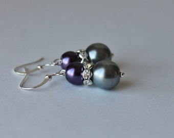 Purple and Charcoal Gray Pearl Rhinestone Earrings