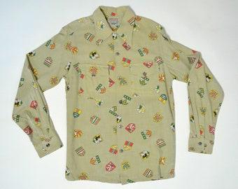 Vintage 1940s Shirt 40s Novelty Print Animals Shields Crests Flap Pocket