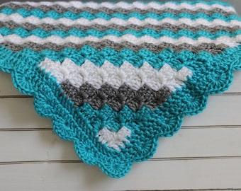 Stripped Baby Blanket, Crib Blanket, Stroller Blanket, Baby Shower Gift