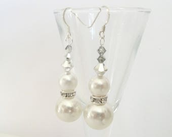 Large ivory pearl drop earrings.  Sterling silver earrings with ivory pearls, silver crystals and diamante . Free delivery