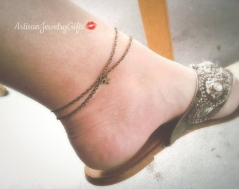 Layered Star Anklet Antique Brass Star Ankle Bracelet Layered Anklet Minimal Anklet Hipster Anklet Antique Brass Chain Anklet Boho Anklet