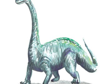 A5 Print | Brontosaurus Illustration
