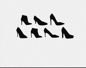 heels svg dxf file stencil monogram frame silhouette cameo cricut clip art commercial use