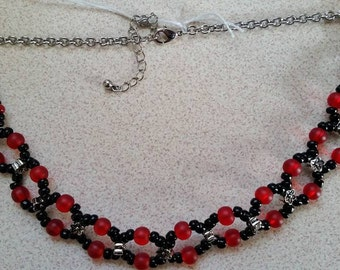 RKBC1  Red & Black  Choker