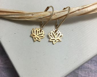 Tiny gold lotus earrings, gold jewelry, small lotus flower, lotus charm lever back earrings, yoga everyday minimalist jewelry E126G