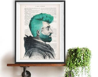 Barber print,barber shop, barber deco, Hair print, hairdresser print, funny hair, haircut, haircut, weird hairtcut, vintage portrait