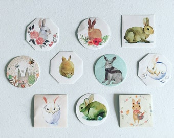 Easter Bunny Stickers, Rabbit Seal Stickers, Bunny Paper Labels, Gift Wrapping, Card Embellishment, Scrapbooking Stickers, Party Supplies