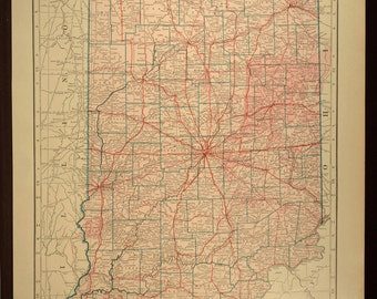 Indiana Map LARGE Indiana Road Map Highway Wall Art Decor