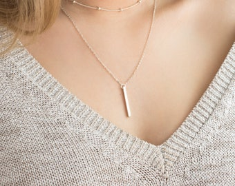 Bar Necklace Silver. Layering Minimalist Necklace. Simple Everyday Silver Bar Drop Necklace. Minimal Delicate Jewelry Gift for Her Jewellery