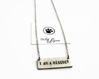 I am a Rescuer Necklace - Animal rescue, doglover, animallover, catlover, hammered, antique silver, rescue jewelry, Nair and Bjorn