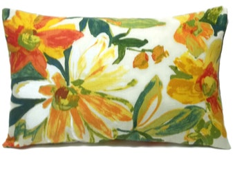 Decorative Lumbar Pillow Cover Green Yellow Orange Red White Floral Print Same Fabric Front/Back Toss Throw Accent 12x18 inch  x