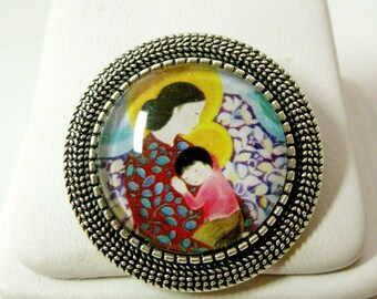 Vietnamese Madonna and child brooch/pin - BR09-015