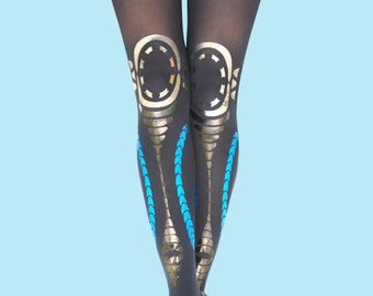 Tribal navy tights available in black as well, gift ideas, gift for her