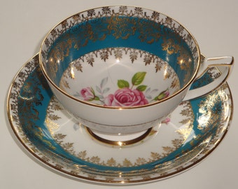Royal Stafford Aqua and Gold Cup and Saucer