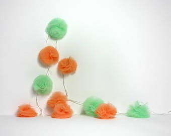 10 Led - Light Garland of Apricot and pale green tulle PomPoms