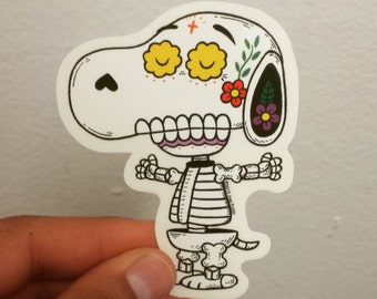 Snoopy Calavera Die-cut Vinyl Sticker Day of the Dead