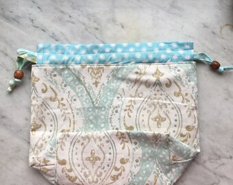 Knitting Drawstring Project Bag/Cream&Aqua/Handmade/Gifts for Knitters/Repurposed/Crochet bag