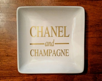 Large Chanel and Champagne Ring & Jewelry Dish/ Chanel /Champagne/ Chanel Tray/ Chanel Jewelry/Jewelry Tray /Personalized Gift / Custom Gift