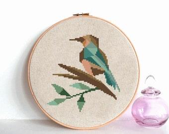 Bird Geometric cross stitch pattern Kingfisher, Modern cross stitch pattern, geometric kingfisher counted cross stitch chart, nature