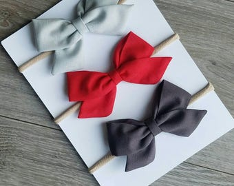 3 pack Fabric bows, sailor bow, gray fabric bow, red fabric bow, light gray bow, dark gray bow, nylon headband