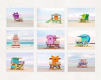 SALE Set of 9 Prints Miami Beach Hut Lifeguard Tower Print Set Wall Art Deco Living Room Beach House Decor Blue Green Pink Beach Wall Art