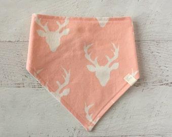 Baby Bandana Bib,  Pink and White, Buck, Deer, Drool Bib, Bibdana, Modern Bib