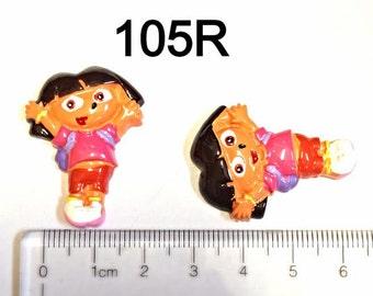 2 Dora Full Body  #105R  Resin Flat back Cabochon Hair Bow Center Craft Supply