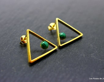 Earrings graphic triangle Gold Earrings graphics, fine gold, 80 years