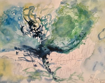 """Original Watercolour """"Fortune favors the brave"""" 18x26 abstract, original watercolor painting, artwork, abstract, acuarela original,"""