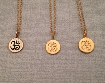 Tiny Gold Om Pendant,Ohm,Aum,Spiritual Jewelry,Yoga Jewelry,Outdoors,Modern Jewelry,Namaste,Meditation,mindfulness,ohm necklace,om necklace,