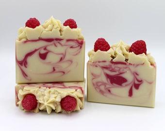 Raspberry Soap, Cold Process Soap Bar, Handmade Raspberry Soap, Artisan Soap, Natural Berry Soap, Coconut Milk Soap, Full or Half Size Bar