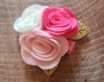 Pink floral hair clip. Felt hair clip.  Felt flower hair bow.