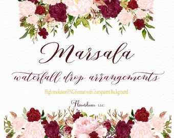 Marsala and blush watercolor clipart drop header arrangement bordo bordeaux burgundy wine clip art rose bouquet pink floral flowers wedding