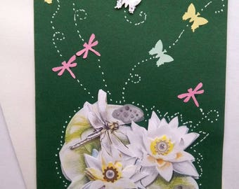 """Carte """"les libellules font la fête aux nénuphars"""""""