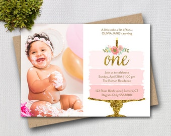 Pink and Gold First Birthday Photo Invitation, Pink Ombre Cake, Printable Digital Invitation, 1100