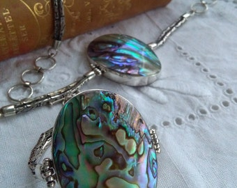 Abalone paua shell sterling silver bracelet