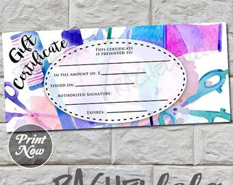 Hair Salon, Purple and Blue, printable Gift Certificate template, spring, direct sales, gift voucher, gift card, instant digital download