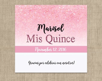 12 Pink Glitter Mis Quince Candy Bar Wrappers for Hershey's Chocolates - Sweet 16 Candy Bar Label - Mis Quince Candy Bar Wrappers